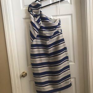 Banana Republic striped one shoulder dress sz 6